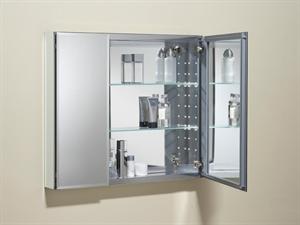 Picture of Double Door Mirrored Aluminum Cabinet