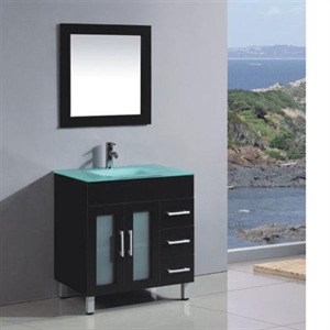 Picture of Glass Basin Solid Wood Cabinet